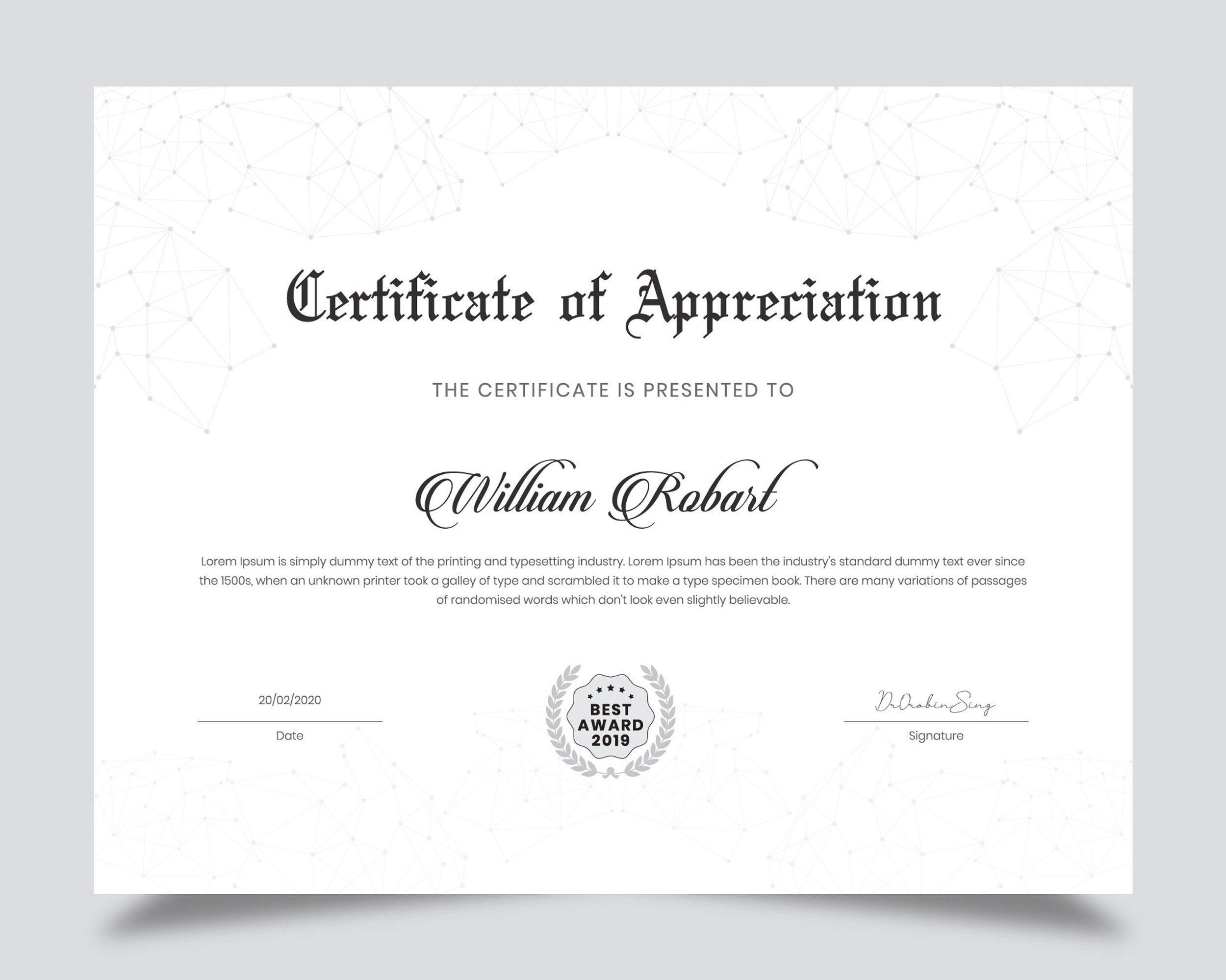 Minimal Certificate Template In 2020 Certificate Design Certificate Templates Certificate Layout