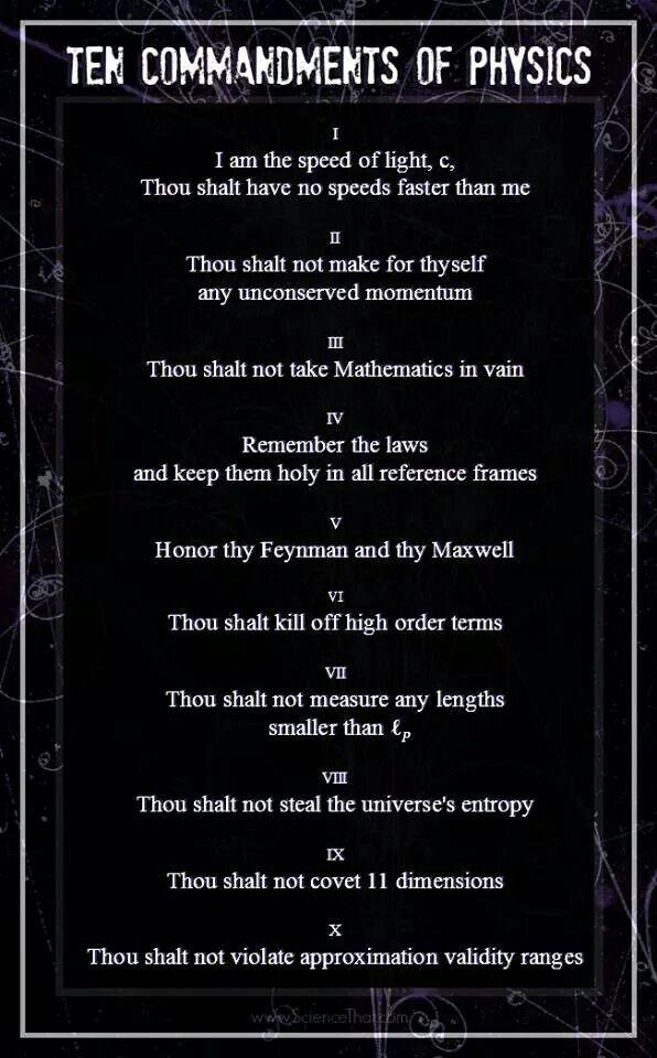 10 Commandments Of Physics