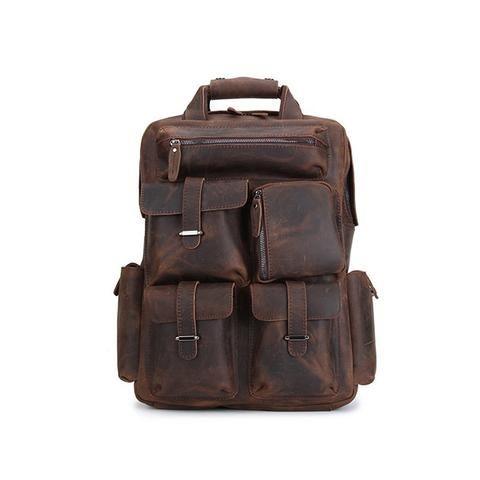 Vintage Men Women Real Cow Leather Book Bag Laptop Backpack Travel Packsack New