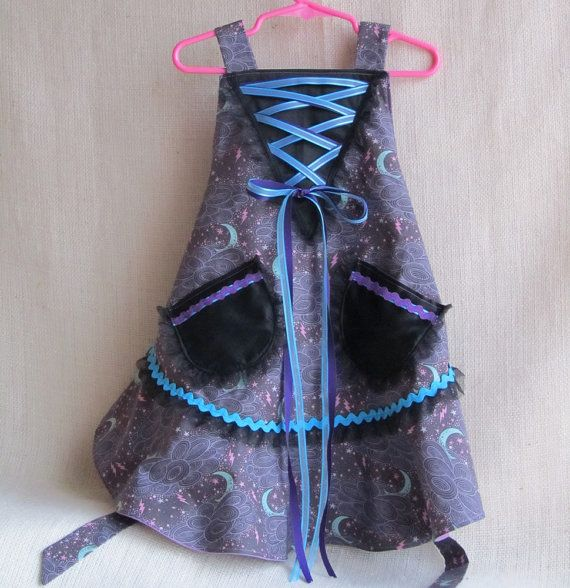 Girl's Witch Costume Dress/Apron Size 3 to 5 by EraOfMakeBelieve, $65.00