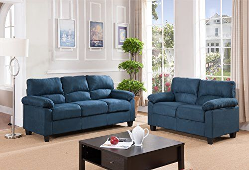 Kings Brand Furniture Blue Microfiber Living Room Set Sofa Loveseat ...