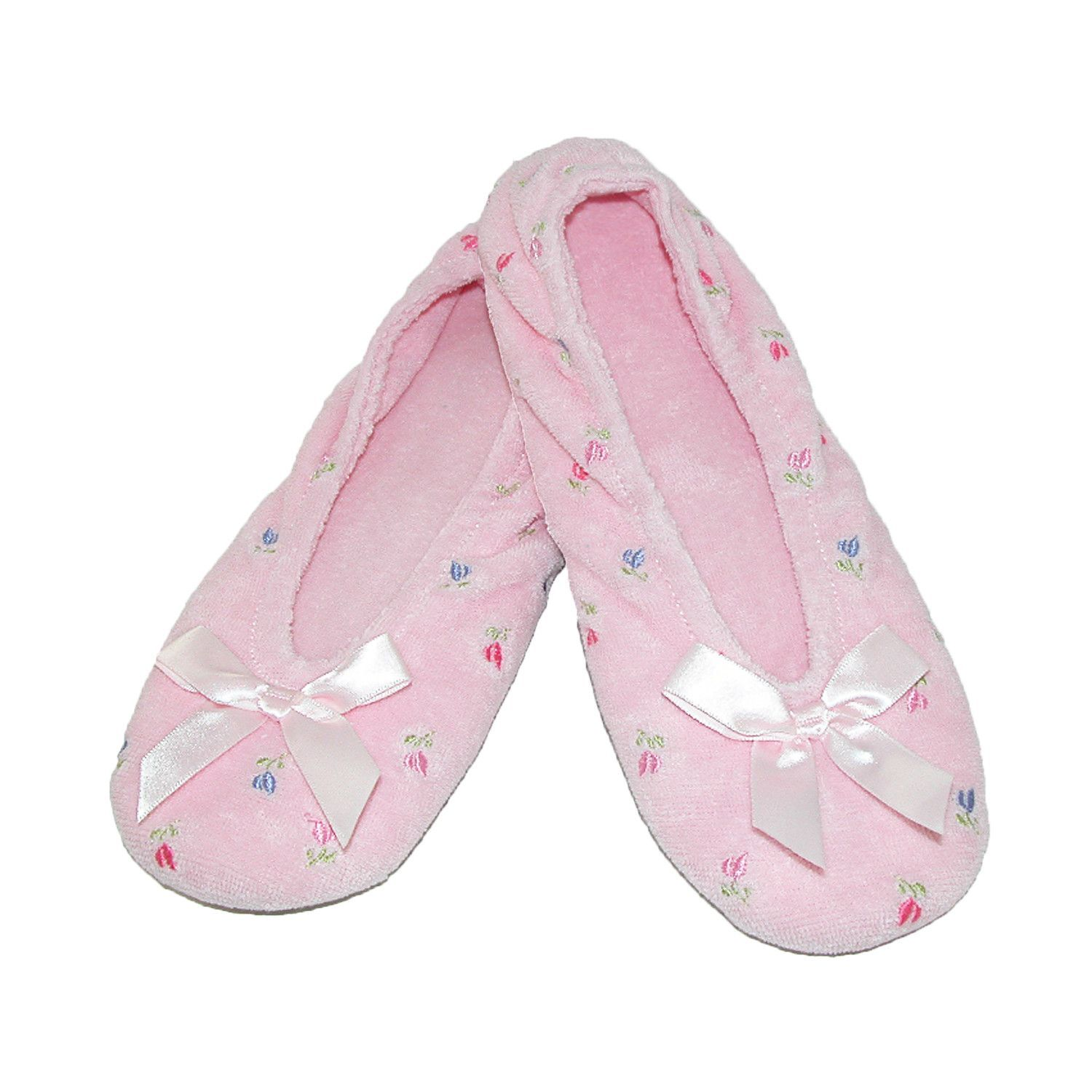8118e9ea3c51c7 totes ISOTONER Womens Embroidered Terry Ballerina Slippers ...