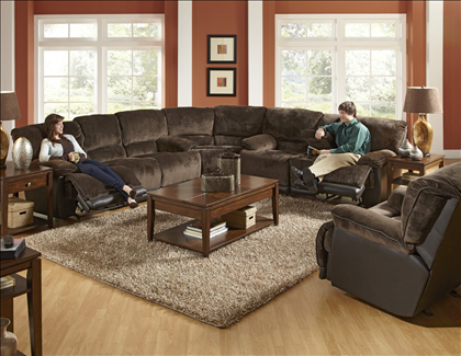Catnapper Escalade Power Reclining Sectional With Two Tone Micro