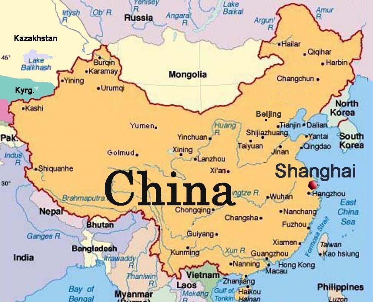 Shanghai World Map On China At China map, China, Map