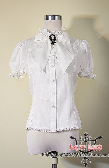 Loss falling moon * 10 * Guests customize summer bow tie collar bubble sleeves short-sleeved shirt - Taobao