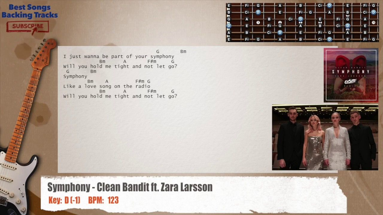 Symphony Clean Bandit Ft Zara Larsson Guitar Backing Track With