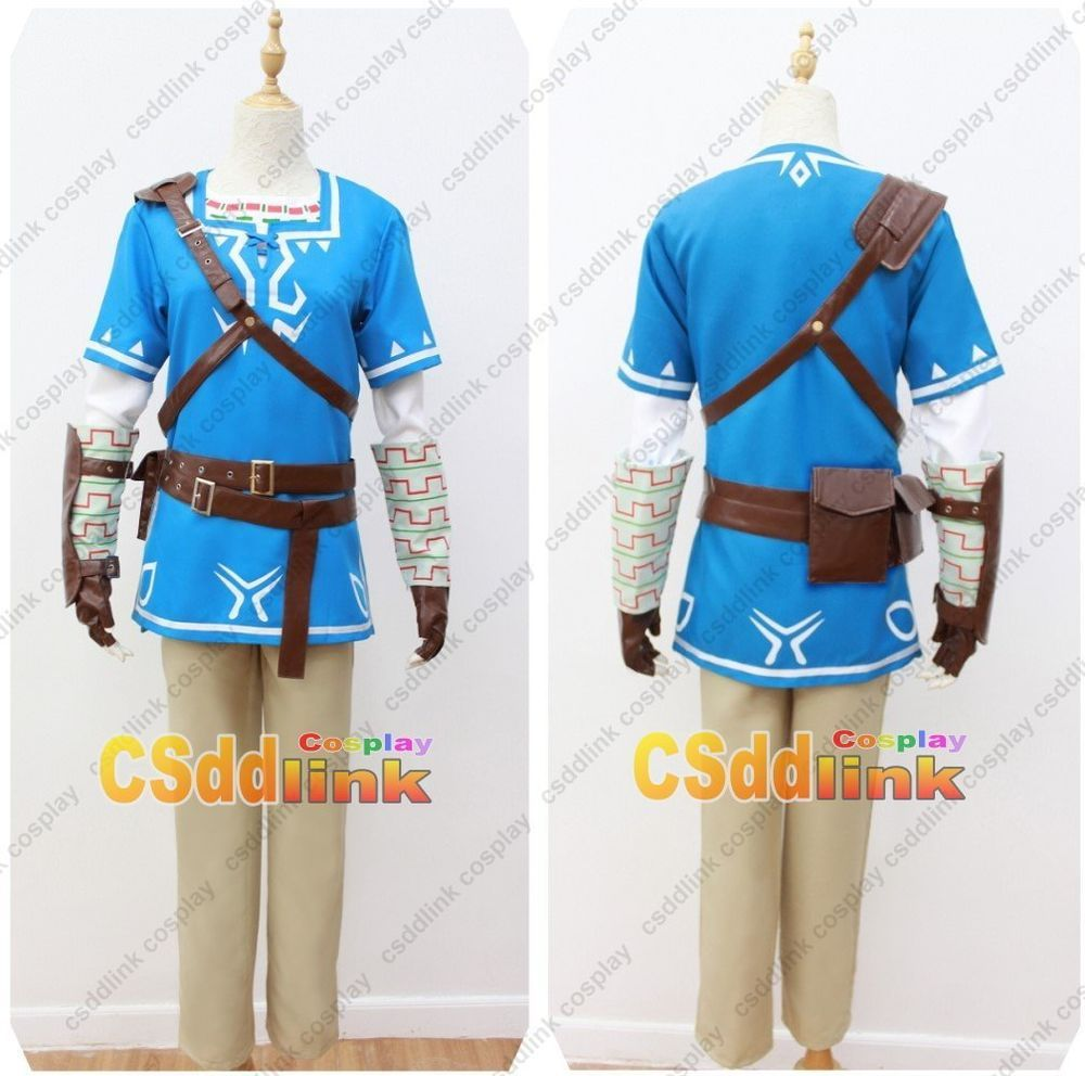 The Legend of Zelda Breath of the Wild Link Cosplay Costume blue ...