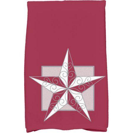 Night Star Geometric Print Kitchen Towel, Red
