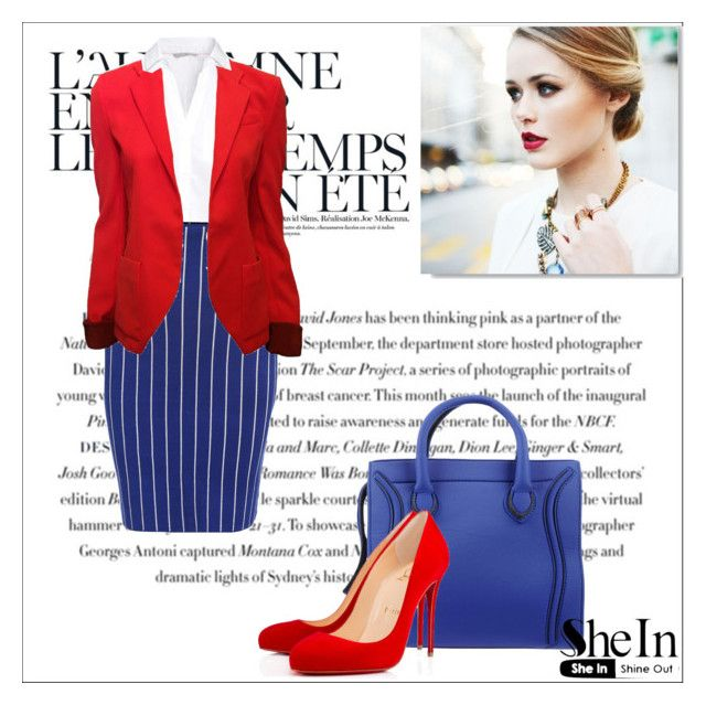 """""""http://www.shein.com/Royal-Blue-Vertical-Stripe-Strap-Skirt-p-228027-cat-1732.html?utm_source=polyvore&utm_medium=contest&url_from=SKU:skirt150818053"""" by daryonka6250 ❤ liked on Polyvore featuring Envi, Été Swim, H&M, Christian Louboutin and Balenciaga"""