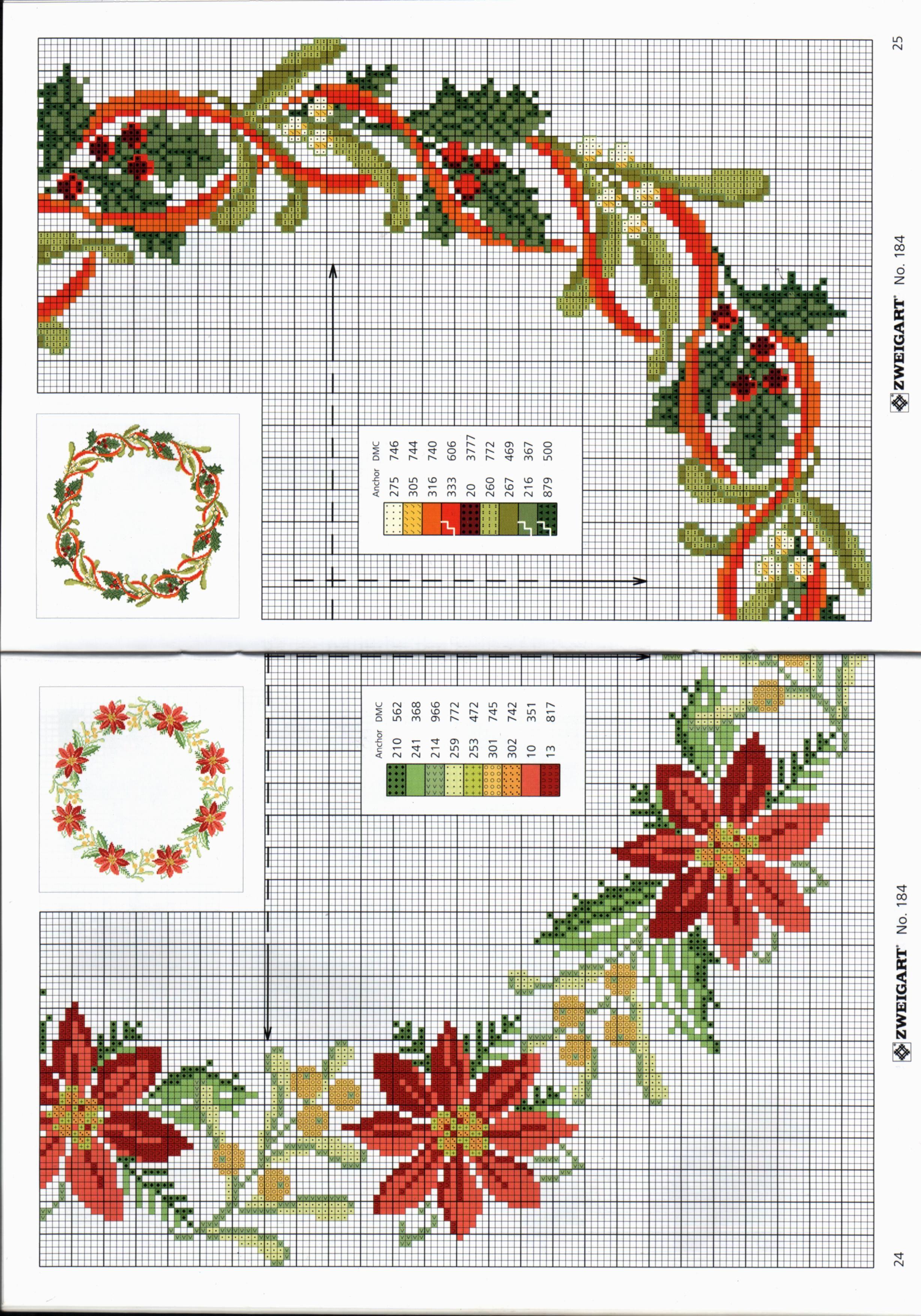 Pin de Amparo Vicente en flores | Pinterest | Punto de cruz navidad ...
