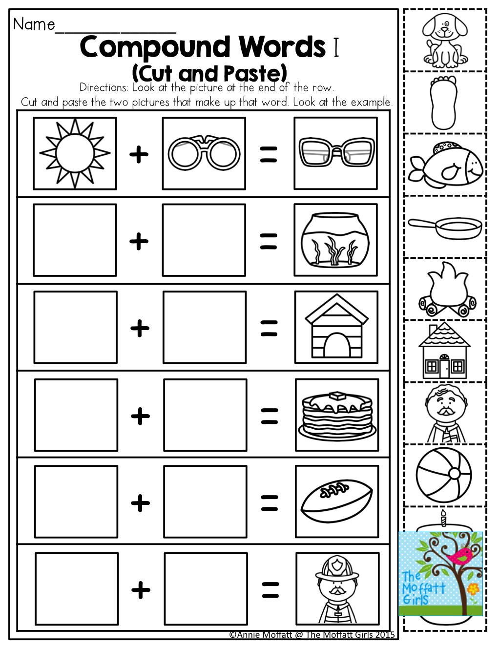May NO PREP Packet (Kindergarten)   Compound words worksheets [ 1325 x 1024 Pixel ]