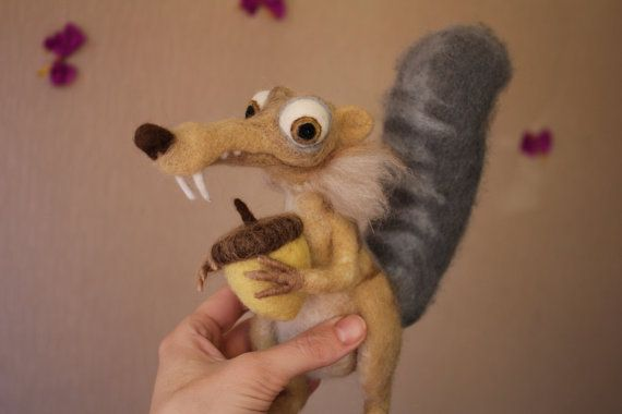Ice Age SQUIRREL SCRAT needle felted cartoon by AliceFelts on Etsy ~ AMAZING!! ~ ♥
