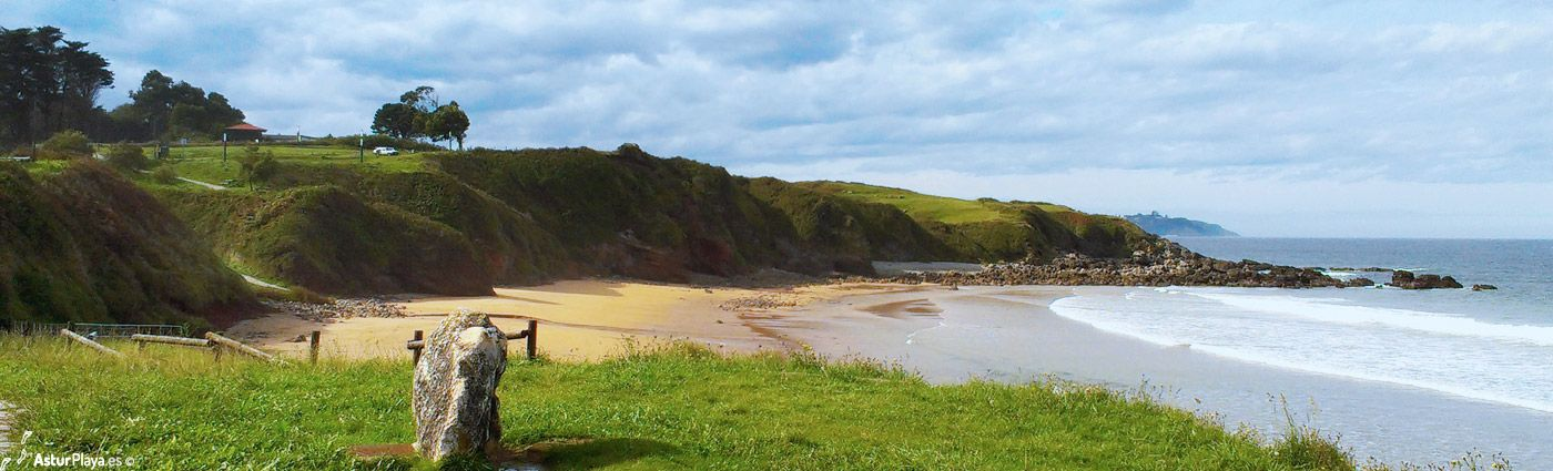 Arenal de Morís beach - its Western side at low tide on a winter sunny day. In Asturias, Spain.