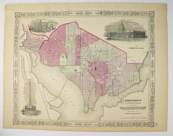Original 1864 Washington DC Map Georgetown 1864 Johnson Map DC US