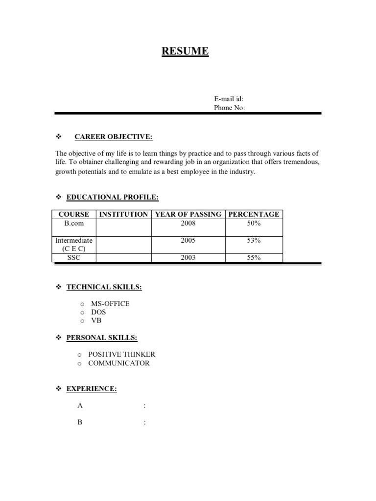 Resume Format Normal Resume Format Resume Format Download Job