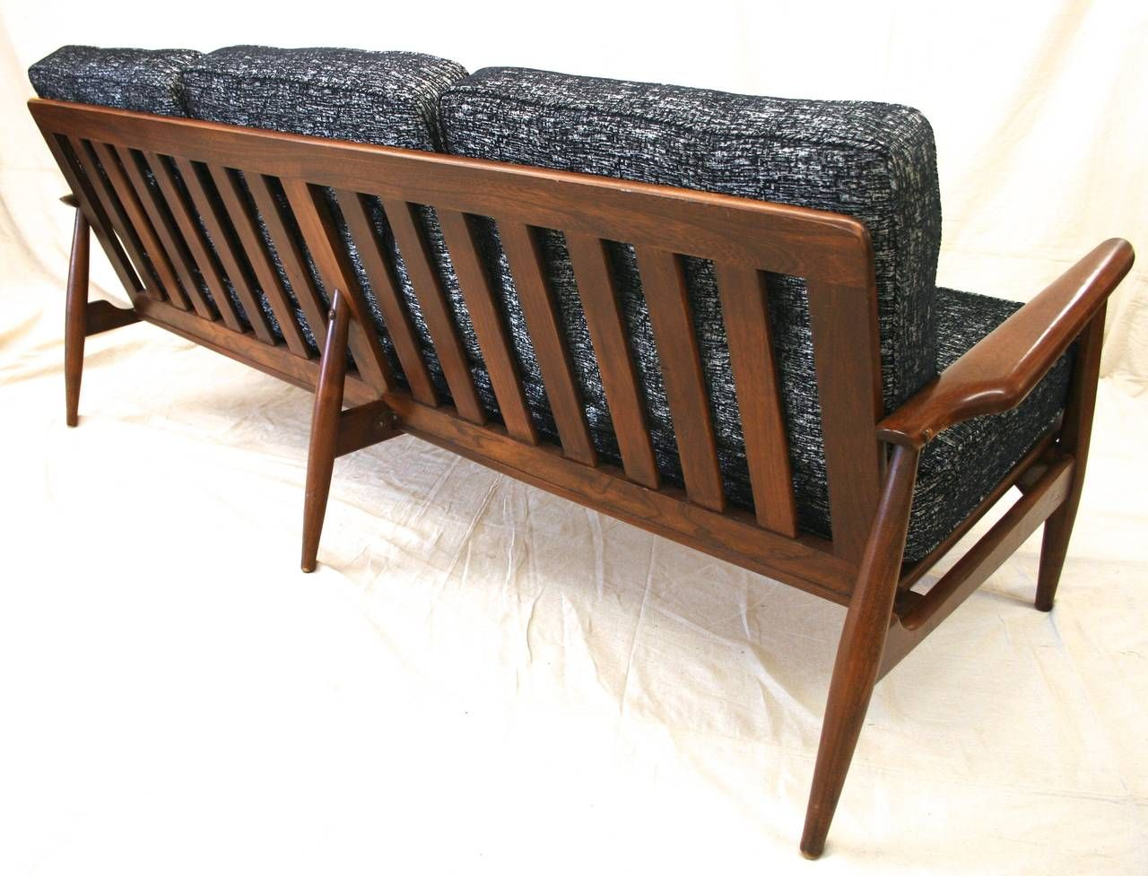 Mid-Century Modern Danish Sofa with Walnut Frame and New ...