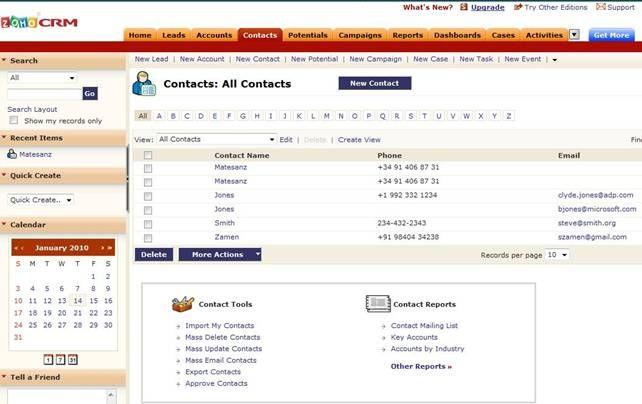 Zoho Contactmanager Comparison To Free Crm S Zoho Crm Crm Software