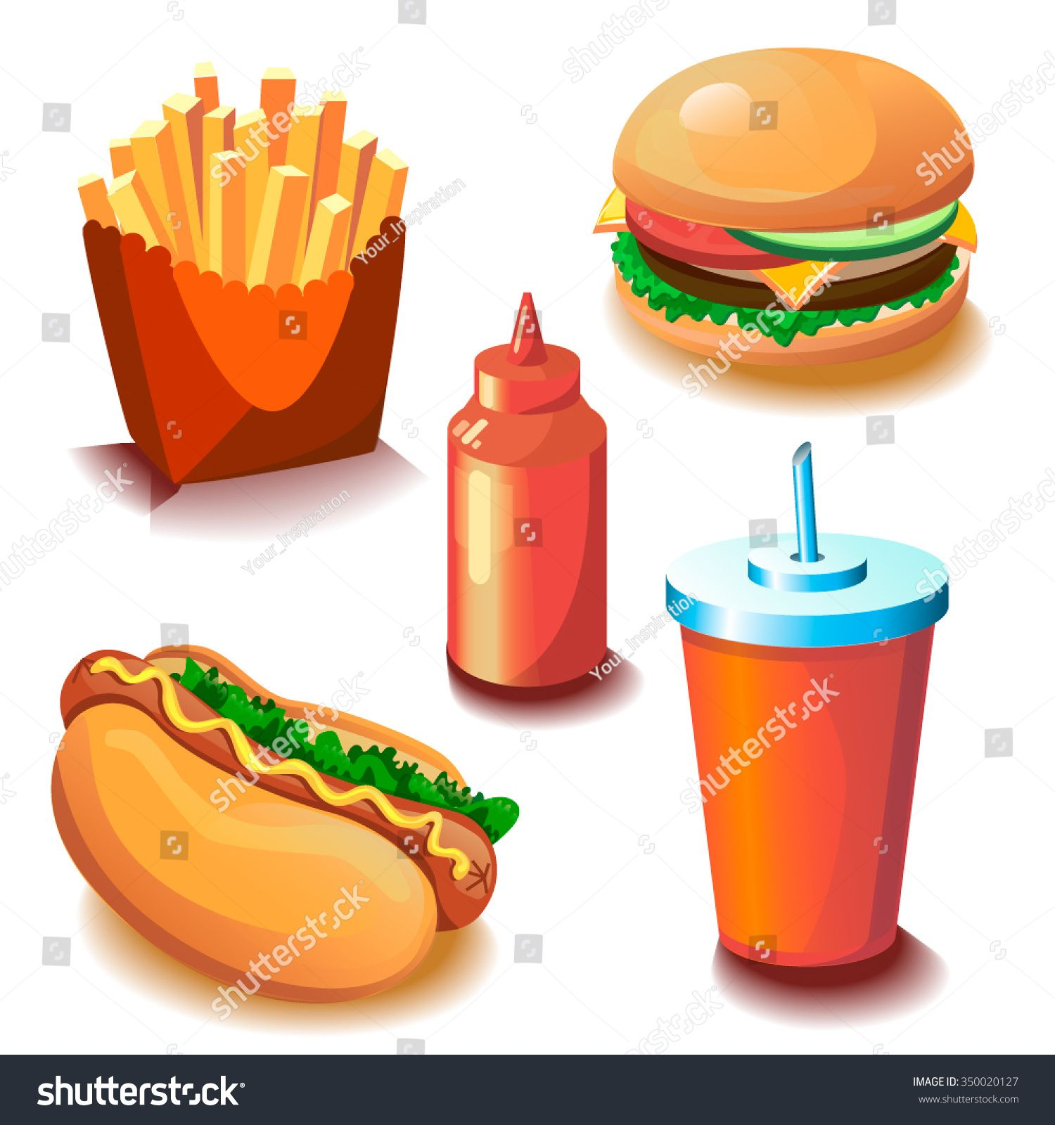 Vector fast food cartoon collection. Illustration for menu