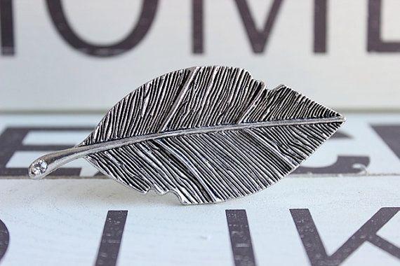 Leaf Drawer Knob with Crystal in Silver Metal MK149 by DaRosa ...