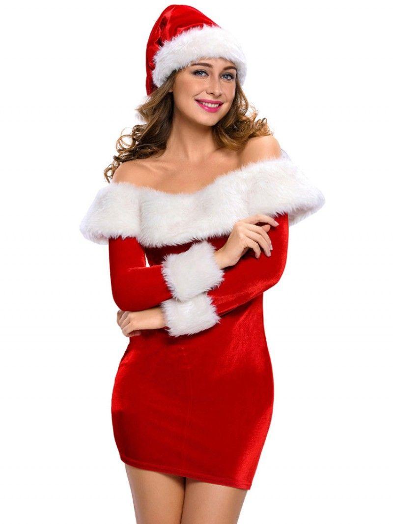 Slim Women Off Shoulder Christmas Cosplay Uniform Long Sleeve Mini
