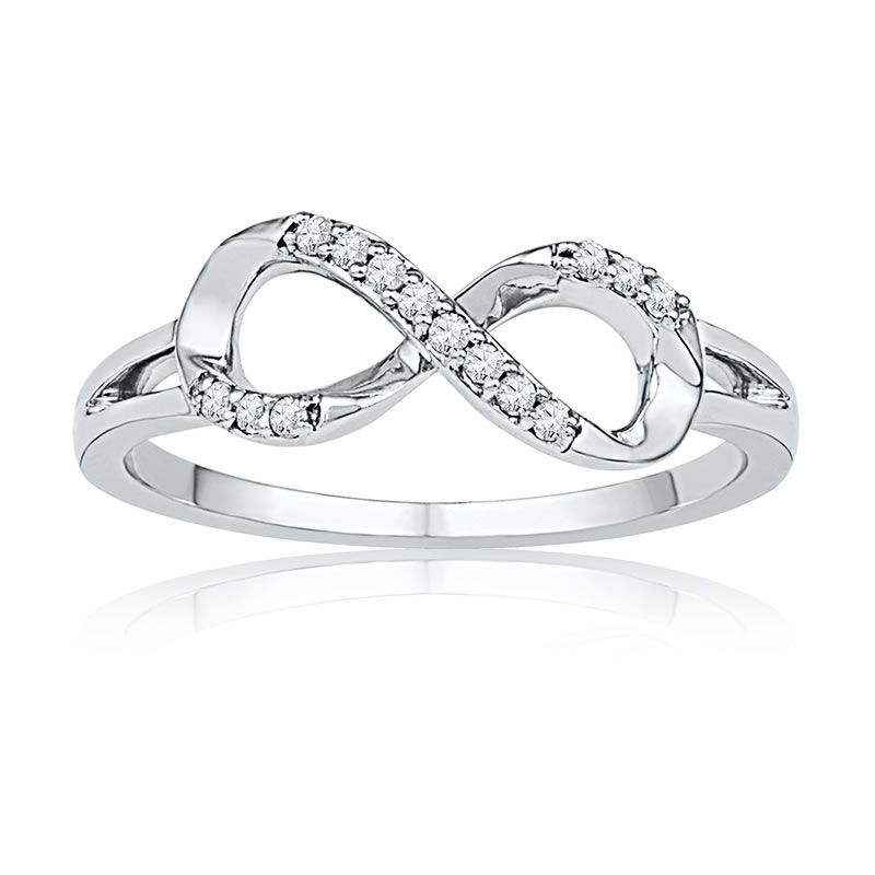 Diamond Infinity Ring In 10k White Gold Infinity Diamond Ring Diamond Wedding Bands Gold Diamond Wedding Band