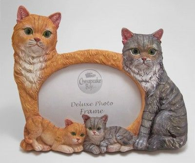 Family Of Yellow And Gray Tabby Cats Polyresin Cat Figurines Table Or Desk Photo Frame With Easel Back Holds One Grey Tabby Cats Tabby Cat Tabby Cat Pictures