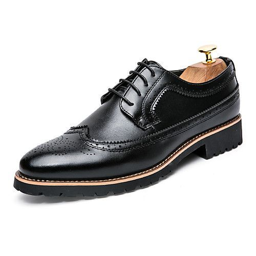 Men's Shoes Leather Spring Fall Formal Shoes Bullock shoes Gladiator Comfort  Oxfords Stitching Lace Lace-