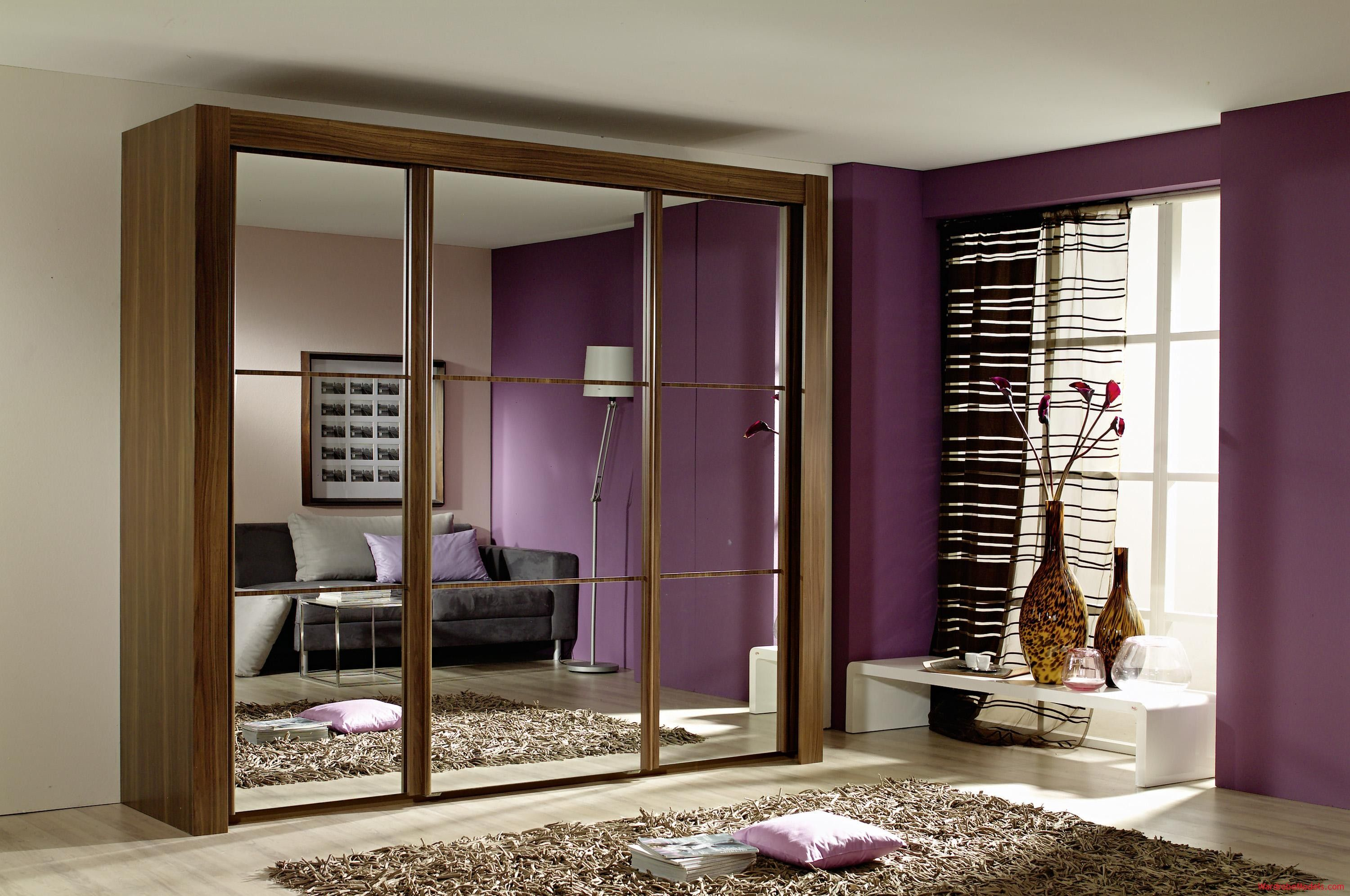 Amazing Modern Small Bedroom With Brown Laminated Wooden Wardrobe With Mirror Door Design
