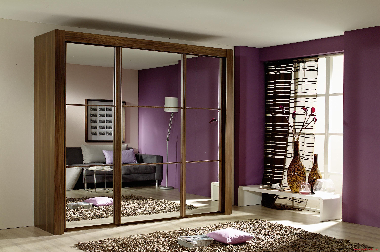Amazing Modern Small Bedroom With Brown Laminated Wooden Wardrobe Mirror Door Design Interior