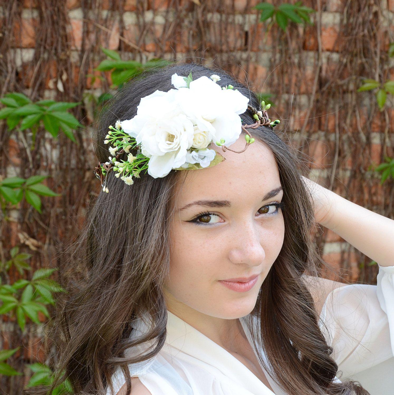 Bridal flower crown white roses flower head wreath flower halo bridal flower crown white roses flower head wreath flower halo flower tiara izmirmasajfo