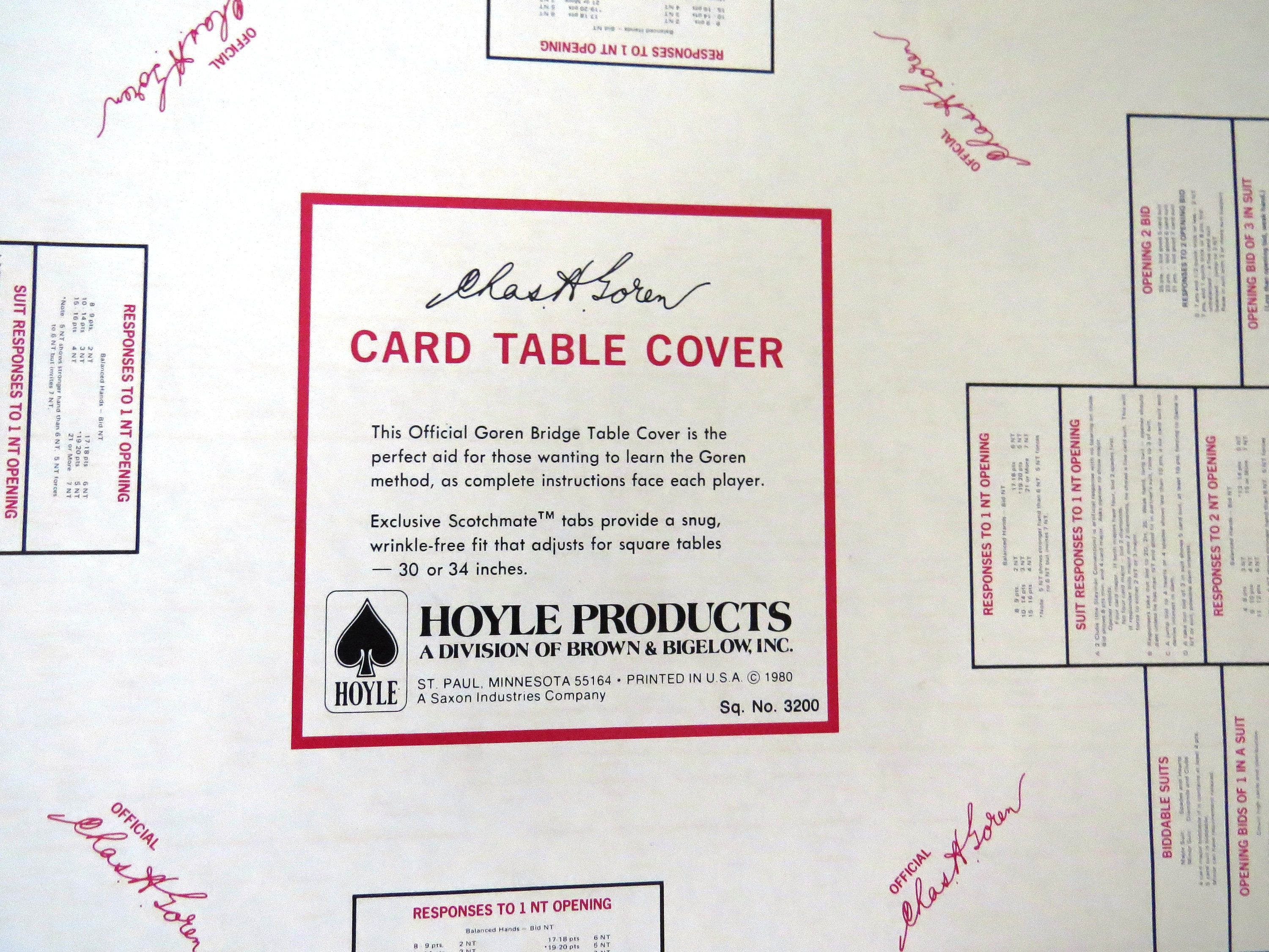 Vintage Bridge Vinyl Card Table Cover With Rules  Charles Goren
