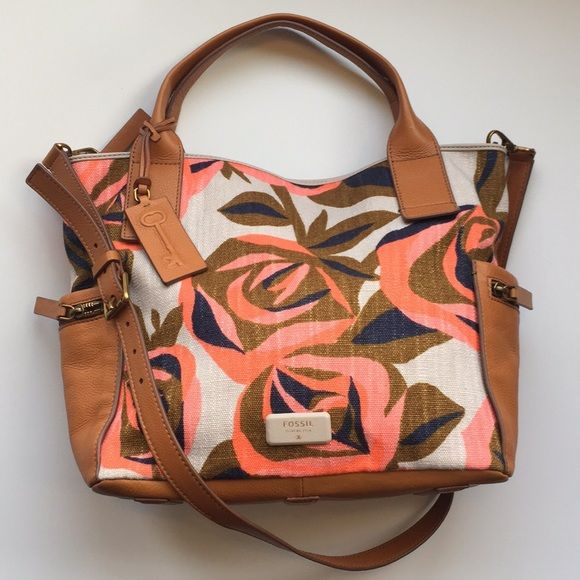Fossil Fl Canvas And Leather Tote Shoulder Bag Handbags Fossils Totes