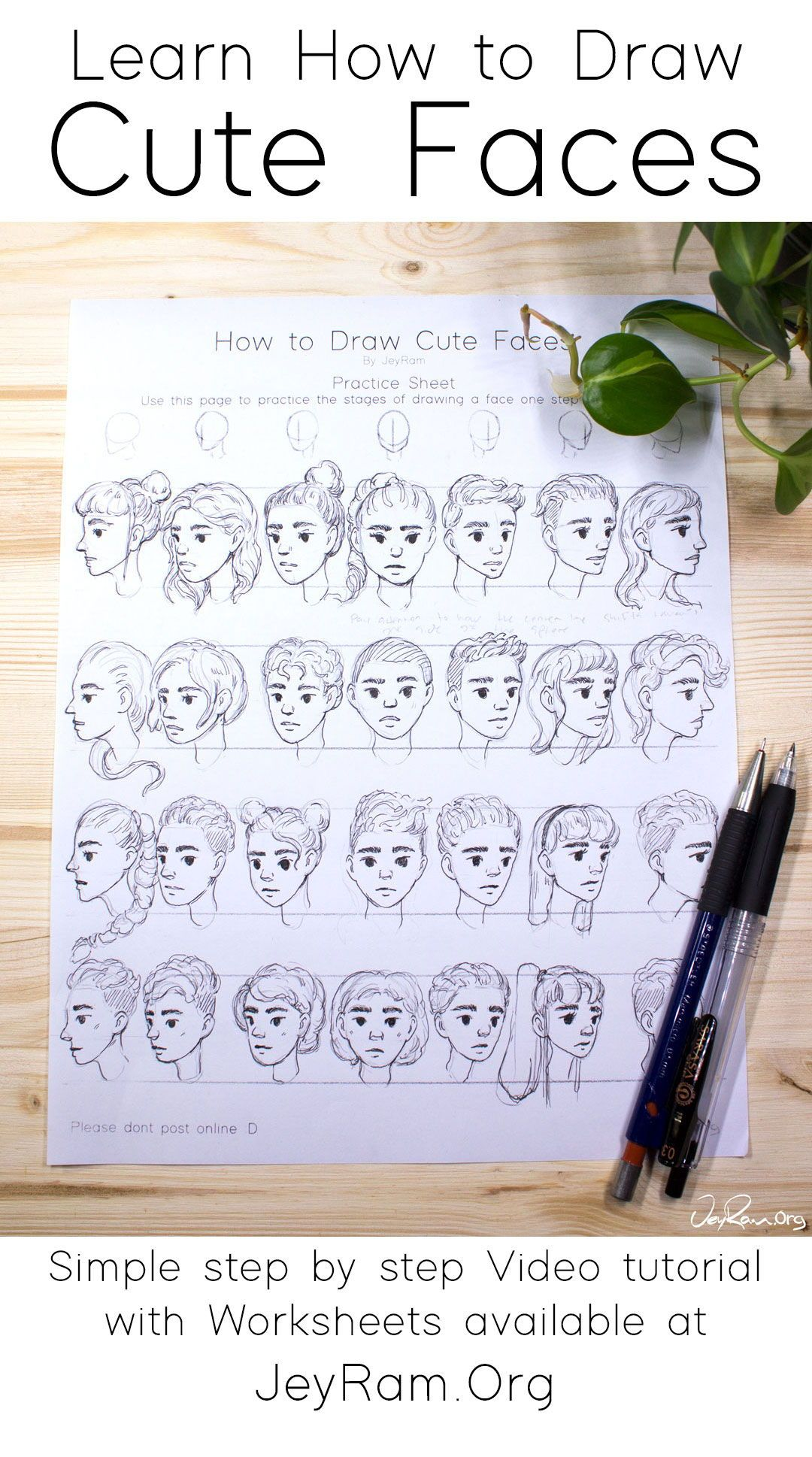 Learn How To Draw Simple And Cute Faces With This Step By