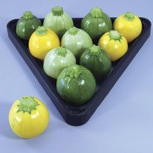 Pool Ball Hybrid Zucchini Squash - You'll love these little dandies! Harvest the colorful round zucchini when fruits are 2 to 3 inches in diameter. Use them for stuffing, shish kabobs, soups or any recipe calling for summer squash. Exceptionally high-yielding 2 to 3 foot bush plants.