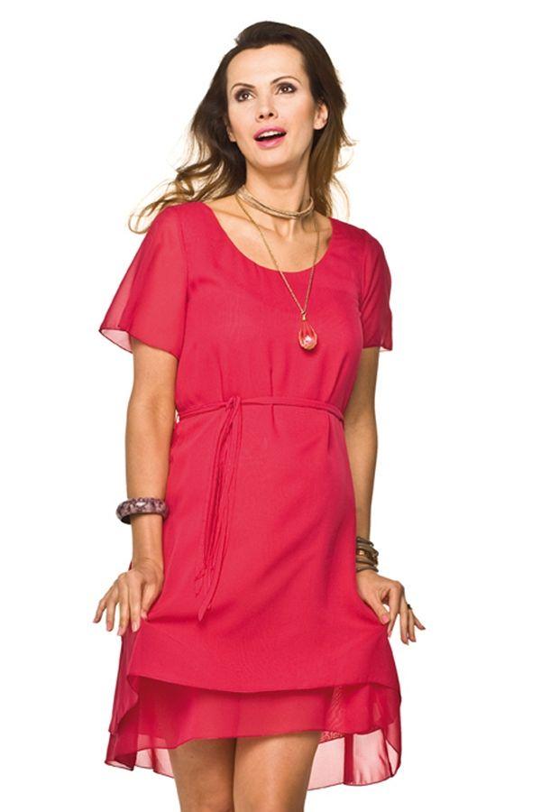 f23ca6f0dbb Těhotenské letní šaty s kulatým výstřihem a krátkými rukávy