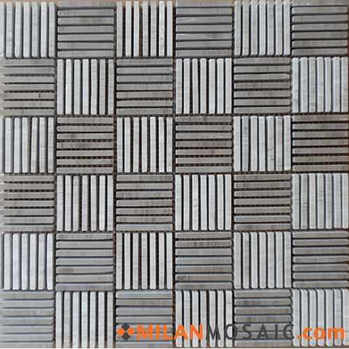 Wooden White Perlino Bianco Linear Blend Stone Mosaics Marble