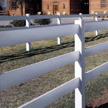 Standard Rail 3 Rail Horse Fence Style Post Rail Fence Height 4 1 2 Rails 1 1 2 X 5 1 2 Ribbed Installat Backyard Fences Fence Styles Vinyl Fence