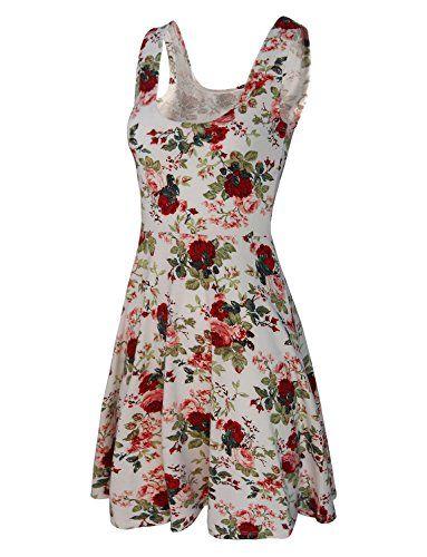 c924cdc3609004 HRYfashion Damen flatterndes Sommerkleid knielang mit Traegern Vintage  Blumenmuster HRYCWD054-WHITE-US L
