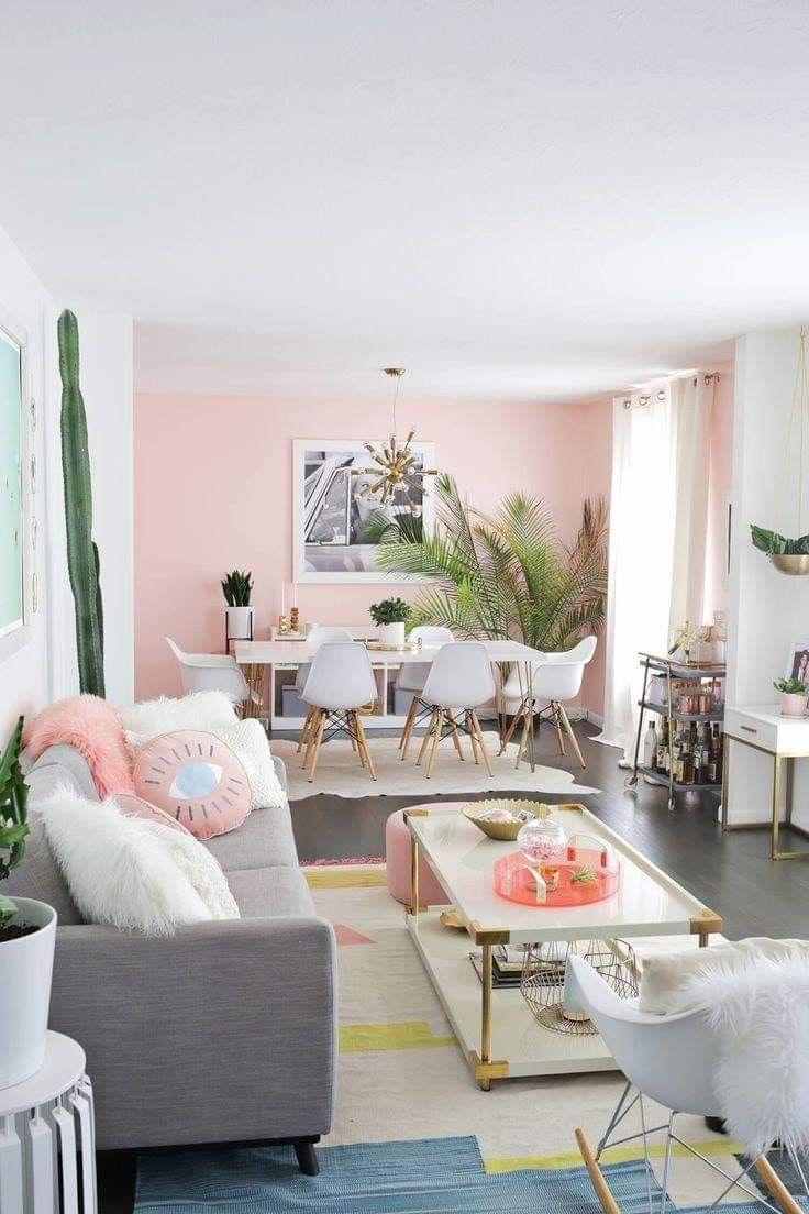 Pin by a random princess on Home  Pastel living room, Pink home