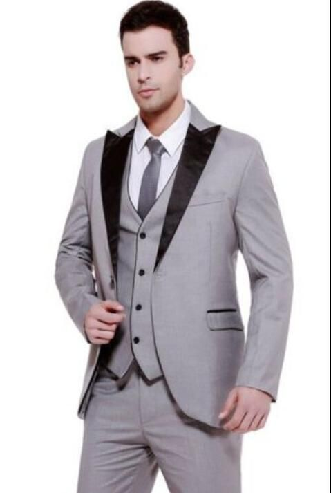 2016 One Button Silver Brown Groom Tuxedos Notch Lapel Best Man ...