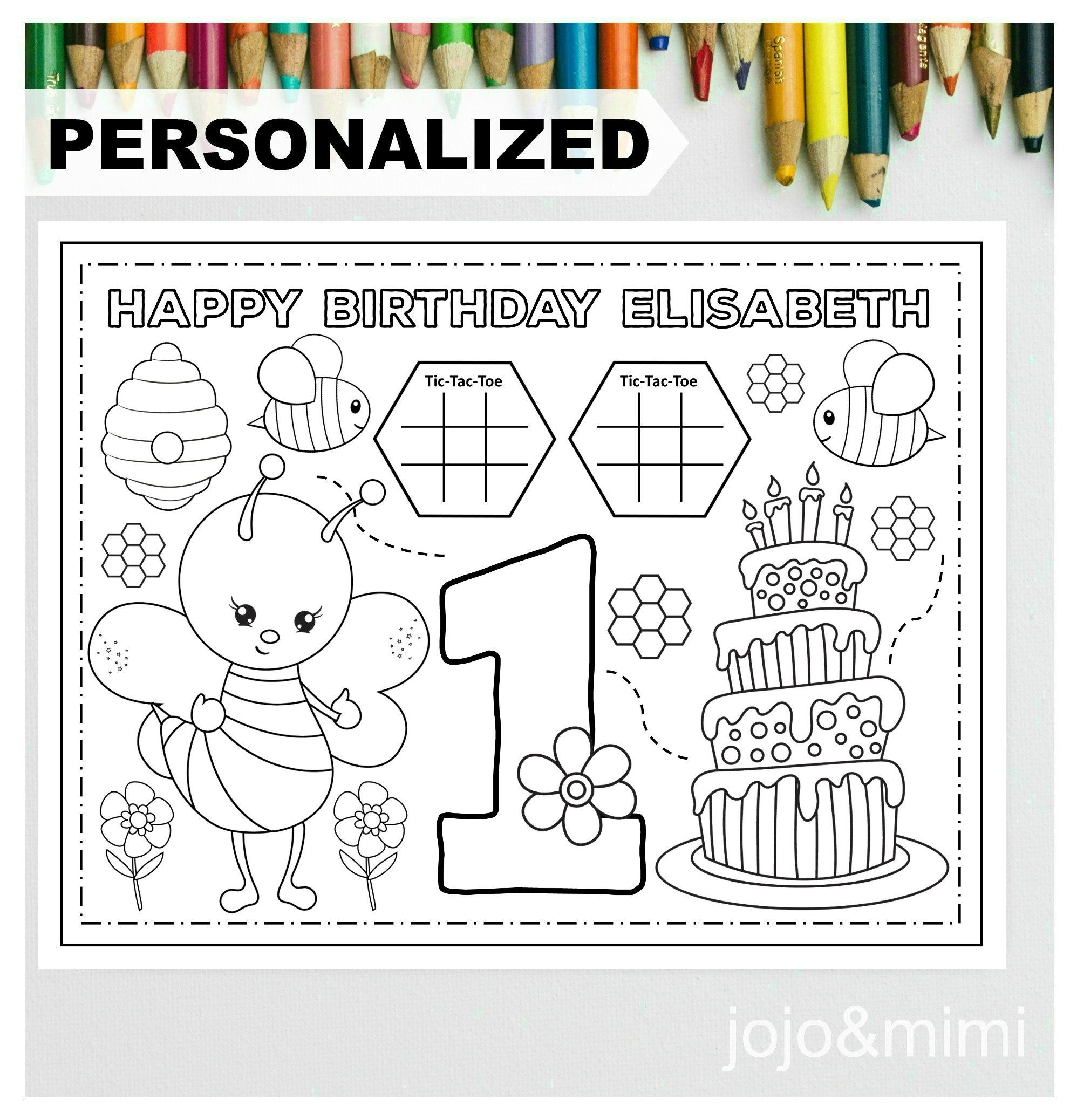 Personalized Bee Happy Birthday Printable Placemat Activity Bee Theme Coloring Page Kids Birthday Party Placemat First Birthday Bee Birthday In 2020 Happy Birthday Printable Bee Birthday Birthday Printables