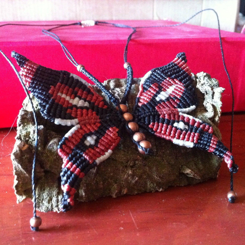 collar mariposa de macram macrame butterfly necklace artesan a nagual. Black Bedroom Furniture Sets. Home Design Ideas