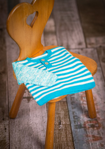 Photo of Button-closed baby blouse with stripes on the front | Free knitting pattern