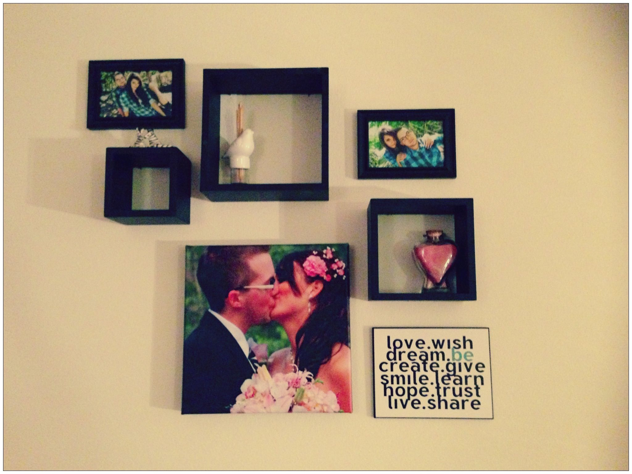 Wall collage with square shelves and a canvas photo :) | For the ...
