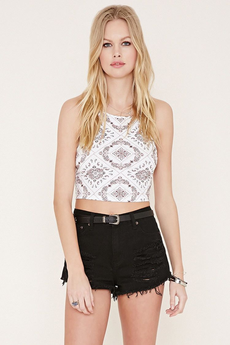 7a7db6ecbee Forever 21 Bandana Print Halter Crop Top Only  6.00