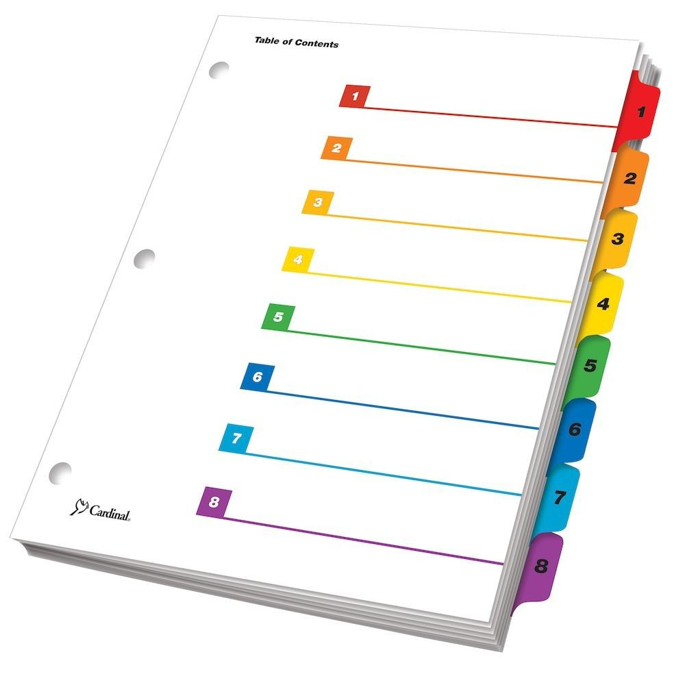 Onestep Printable Table Of Contents Dividers 8 Tab Multicolor Pertaining To 8 Tab Divider Template Wo Table Of Contents Template Templates Table Of Contents