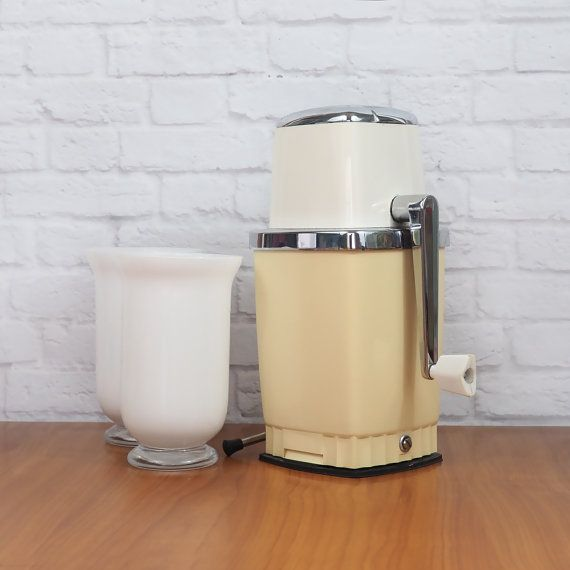 Vintage 1960's Kitchen Ware // Swing A Way Ice Crusher // White and Beige with Chrome Accents // Working Condition #kitchenware