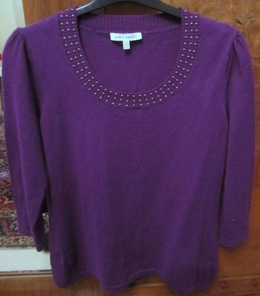 1d738fe4c2d62 Pretty top by LAURA ASHLEY in size 12 14 in purple pure merino wool  fashion   clothing  shoes  accessories  womensclothing  tops (ebay link)