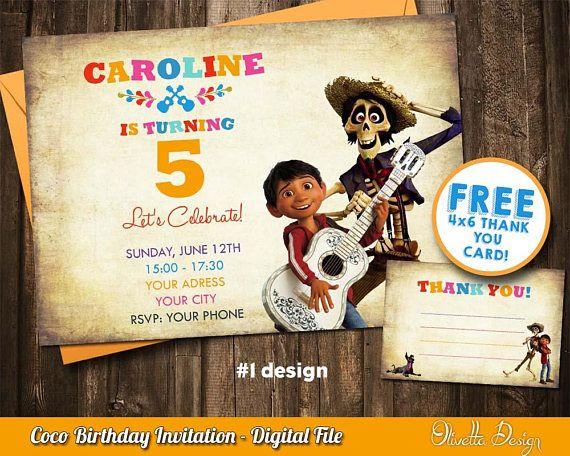 Coco Invitation For Birthday Party Coco Invite Coco Party