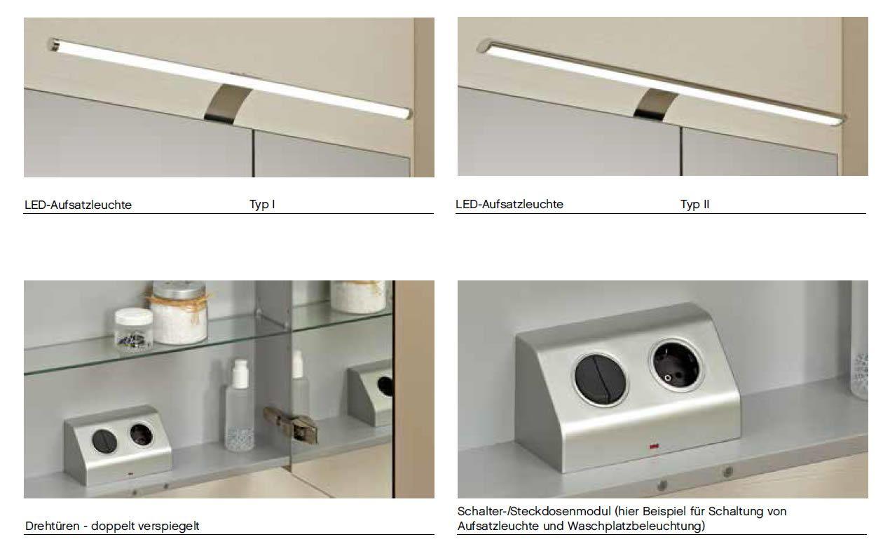 Pelipal Neutraler Spiegelschrank 180 Cm Mit Led Aufsatzleuchten S5 Spsd 34 Spiegelschrank Led Schrank